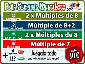 Participación Multi Peña Loteria Semanal de Bonoloto Primitiva Euromillones y Gordo