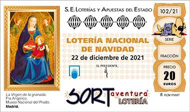 Décimo para el sorteo Extraordinario de Navidad 2021 que se celebrará el 22 de Diciembre.