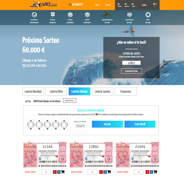 Compra Online tus décimos para el Sorteo de Loteria Nacional de San Valentin 2019 en Sort Aventura