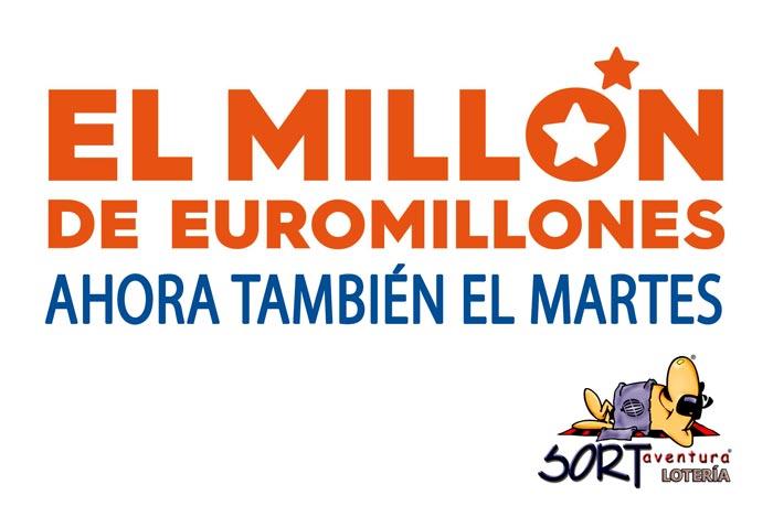 El Millón del Euromillones, ahora tamién en el sorteo de el martes